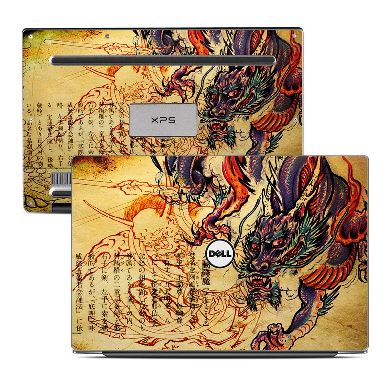 Dell XPS 13 9343 Skin design of Illustration, Fictional character, Art, Demon, Drawing, Visual arts, Dragon, Supernatural creature, Mythical creature, Mythology with black, green, red, gray, pink, orange colors