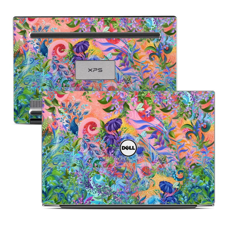Dell XPS 13 9343 Skin design of Psychedelic art, Painting, Art, Acrylic paint, Pattern, Modern art, Visual arts, Textile, Design, Organism with gray, blue, green, pink colors