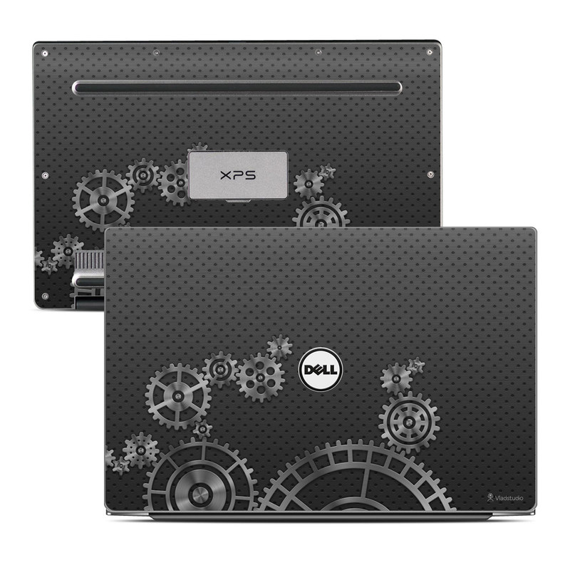 Dell XPS 13 9343 Skin design of Pattern, Design, Black-and-white, Textile, Circle, Font, Gear, Monochrome, Visual arts, Metal with black, gray colors