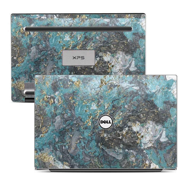 Dell XPS 13 9343 Skin design of Blue, Turquoise, Green, Aqua, Teal, Geology, Rock, Painting, Pattern with black, white, gray, green, blue colors