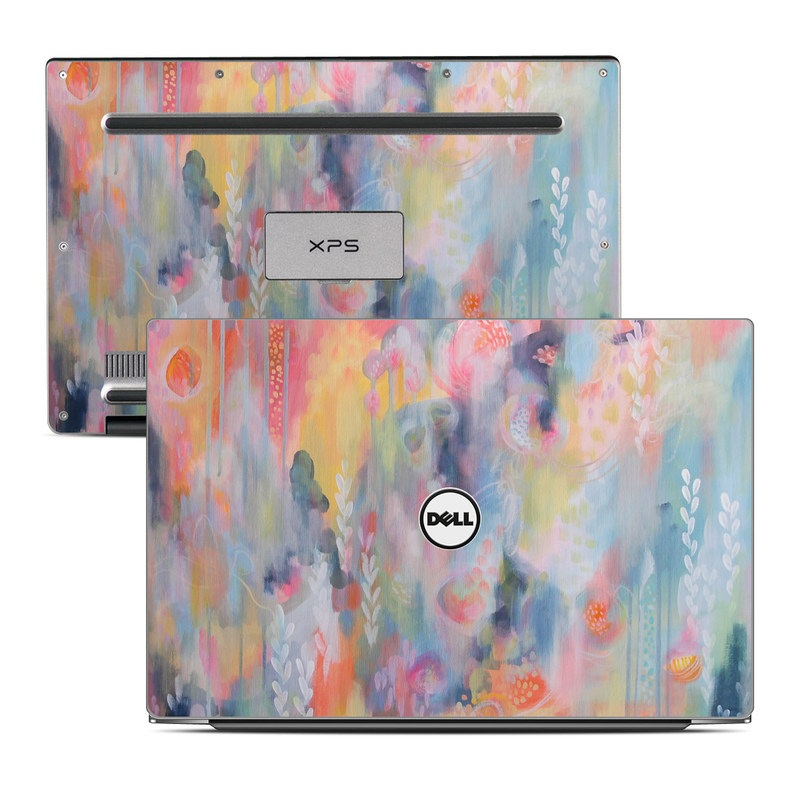 Dell XPS 13 9343 Skin design of Painting, Watercolor paint, Modern art, Acrylic paint, Art, Visual arts, Paint, Artwork, Dye with blue, pink, orange, yellow, red, white colors