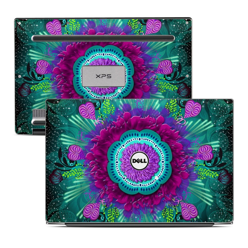 Dell XPS 13 9343 Skin design of Psychedelic art, Fractal art, Pink, Teal, Pattern, Turquoise, Art, Purple, Aqua, Magenta with black, blue, purple, green colors