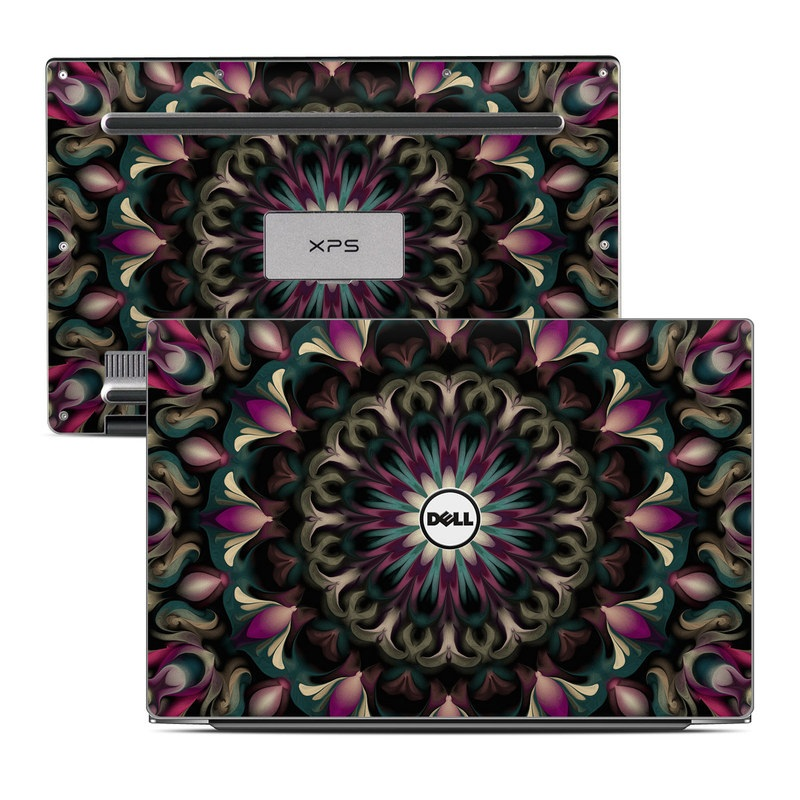 Dell XPS 13 9343 Skin design of Fractal art, Pattern, Pink, Psychedelic art, Art, Kaleidoscope, Design, Symmetry, Visual arts, Textile with black, purple, white, green, blue colors