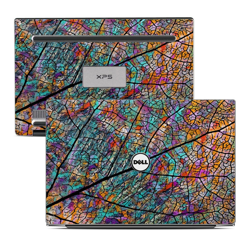 Dell XPS 13 9343 Skin design of Pattern, Colorfulness, Line, Branch, Tree, Leaf, Design, Visual arts, Glass, Plant with black, gray, red, blue, green colors