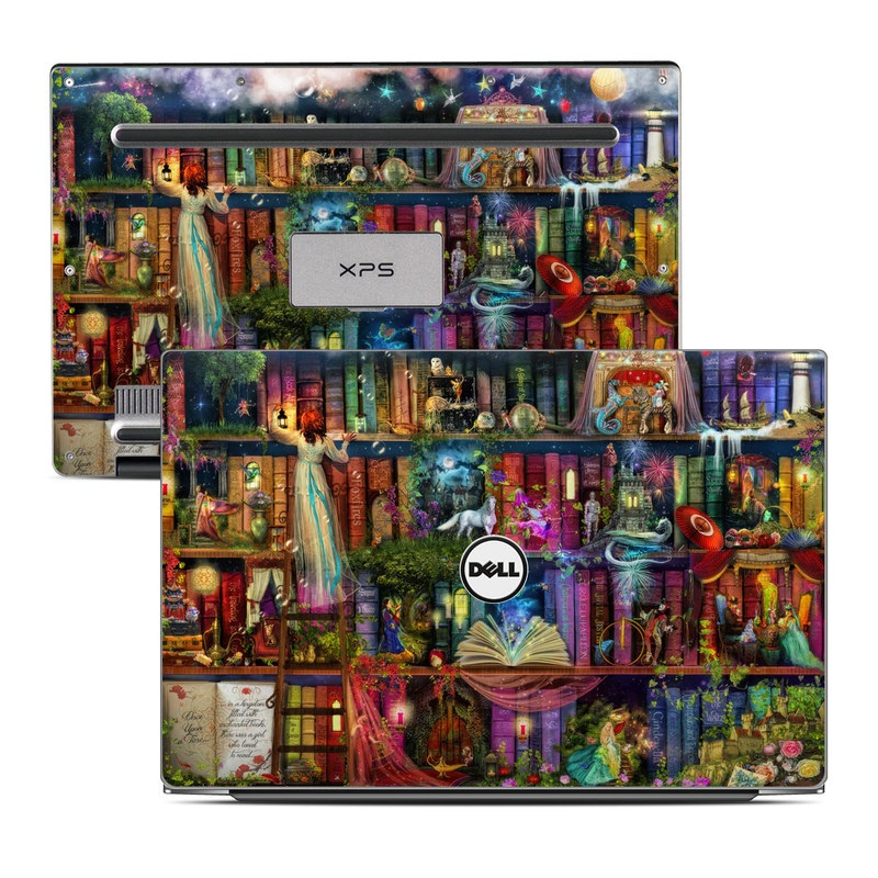 Dell XPS 13 9343 Skin design of Painting, Art, Theatrical scenery with black, red, gray, green, blue colors