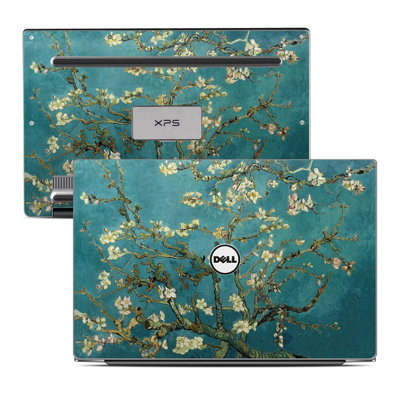 Dell XPS 13 9343 Skin design of Tree, Branch, Plant, Flower, Blossom, Spring, Woody plant, Perennial plant with blue, black, gray, green colors