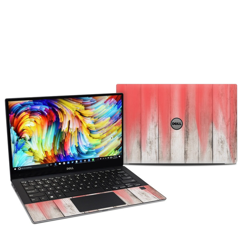 Dell XPS 13 9360 Skin design of Red, Pink, Text, Line, Textile, Wood, Tints and shades, Colorfulness, Pattern, Curtain with red, white, brown colors