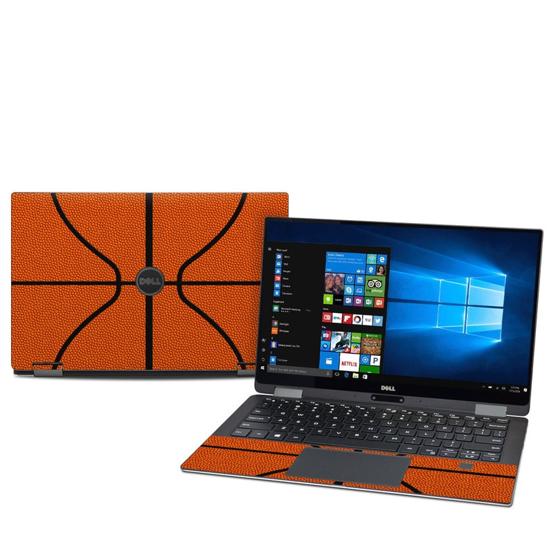 Dell XPS 13 9365 Skin design of Orange, Basketball, Line, Pattern, Sport venue, Brown, Yellow, Design, Net, Team sport with orange, black colors