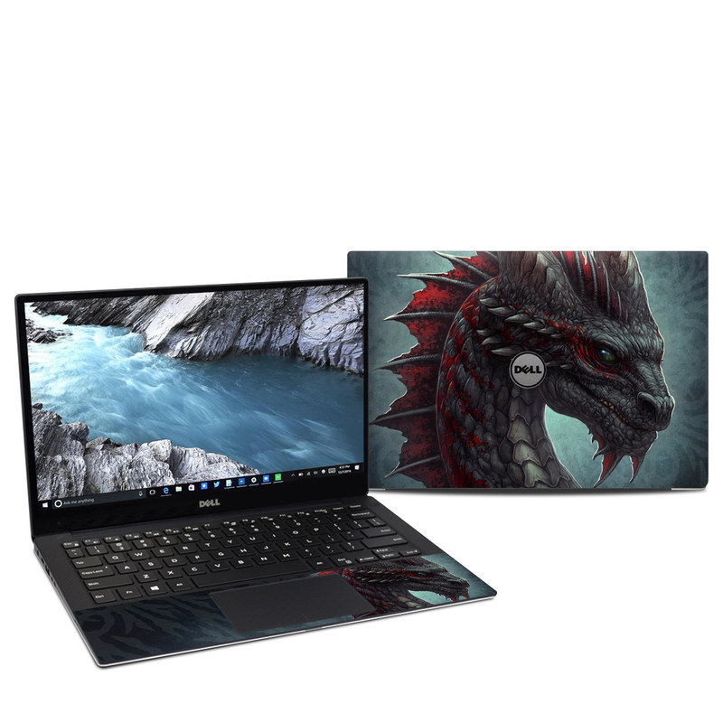 Dell XPS 13 9370 Skin design of Dragon, Fictional character, Mythical creature, Demon, Cg artwork, Illustration, Green dragon, Supernatural creature, Cryptid with red, gray, blue colors