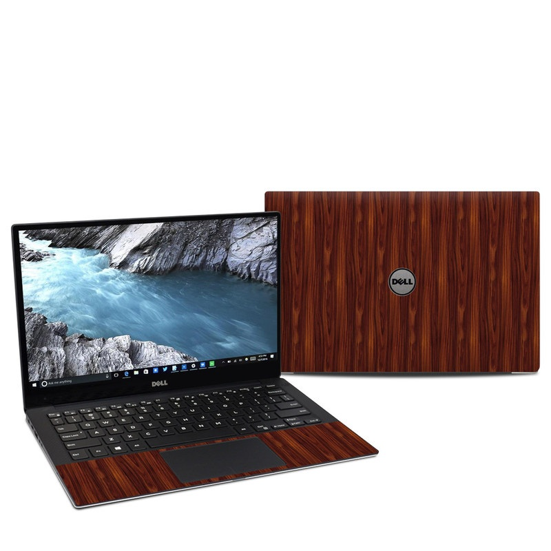 Dell XPS 13 9370 Skin design of Wood, Red, Brown, Hardwood, Wood flooring, Wood stain, Caramel color, Laminate flooring, Flooring, Varnish with black, red colors