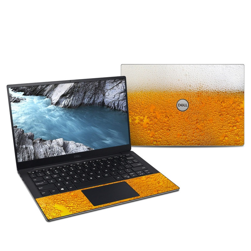 Dell XPS 13 9380 Skin design of Yellow, Orange, Amber, Water, Caramel color, Beer, Drink with yellow, white colors