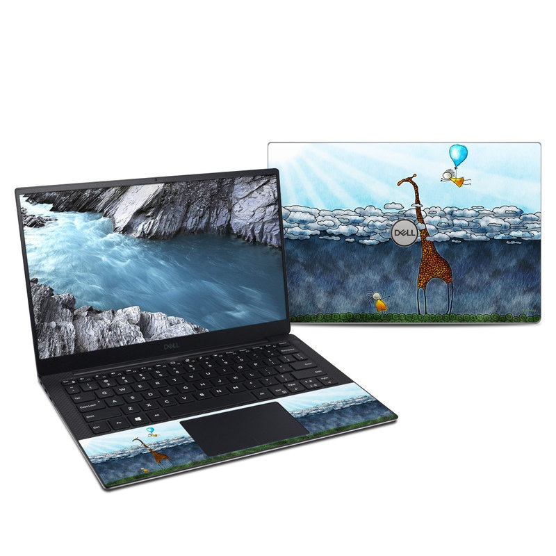 Dell XPS 13 9380 Skin design of Giraffe, Sky, Tree, Water, Branch, Giraffidae, Illustration, Cloud, Grassland, Bird with blue, gray, yellow, green colors