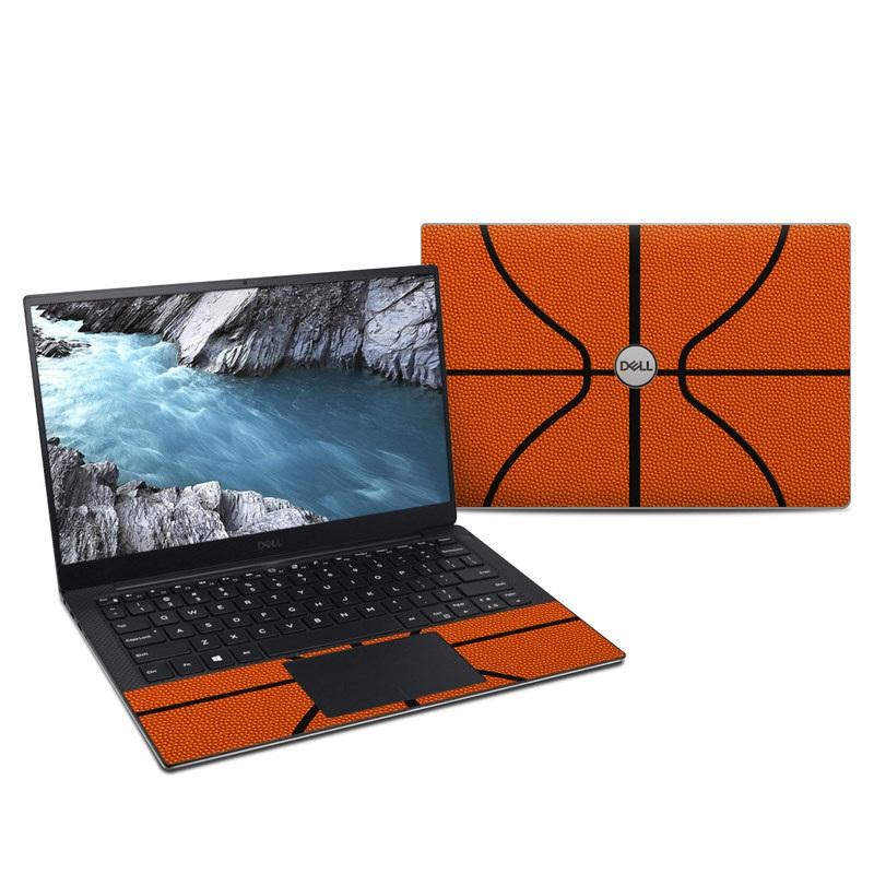 Dell XPS 13 9380 Skin design of Orange, Basketball, Line, Pattern, Sport venue, Brown, Yellow, Design, Net, Team sport with orange, black colors