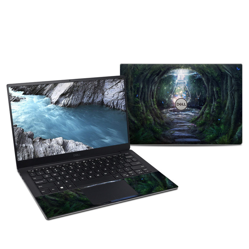 Dell XPS 13 9380 Skin design of Nature, Green, Darkness, Natural environment, Light, Infrastructure, Tunnel, Tree, Forest, Art with white, black, brown, green, blue, yellow colors
