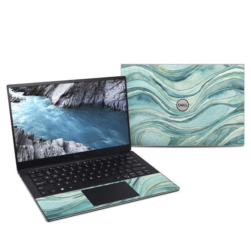 Dell XPS 13 9380 Skin design of Aqua, Blue, Pattern, Turquoise, Teal, Water, Design, Line, Wave, Textile with gray, blue colors