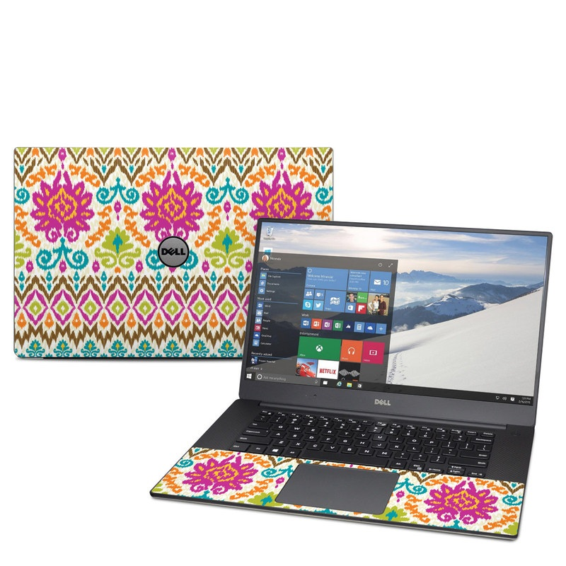 Dell XPS 15 9560 Skin design of Pattern, Design, Line, Textile, Symmetry, Motif, Visual arts, Magenta with pink, green, blue, white, orange, yellow colors