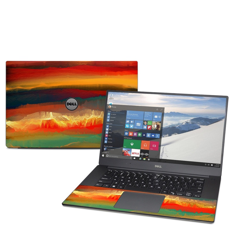 Dell XPS 15 9560 Skin design of Sky, Red, Horizon, Afterglow, Orange, Painting, Acrylic paint, Watercolor paint, Sunset, Geological phenomenon with red, blue, green, yellow, orange, white colors