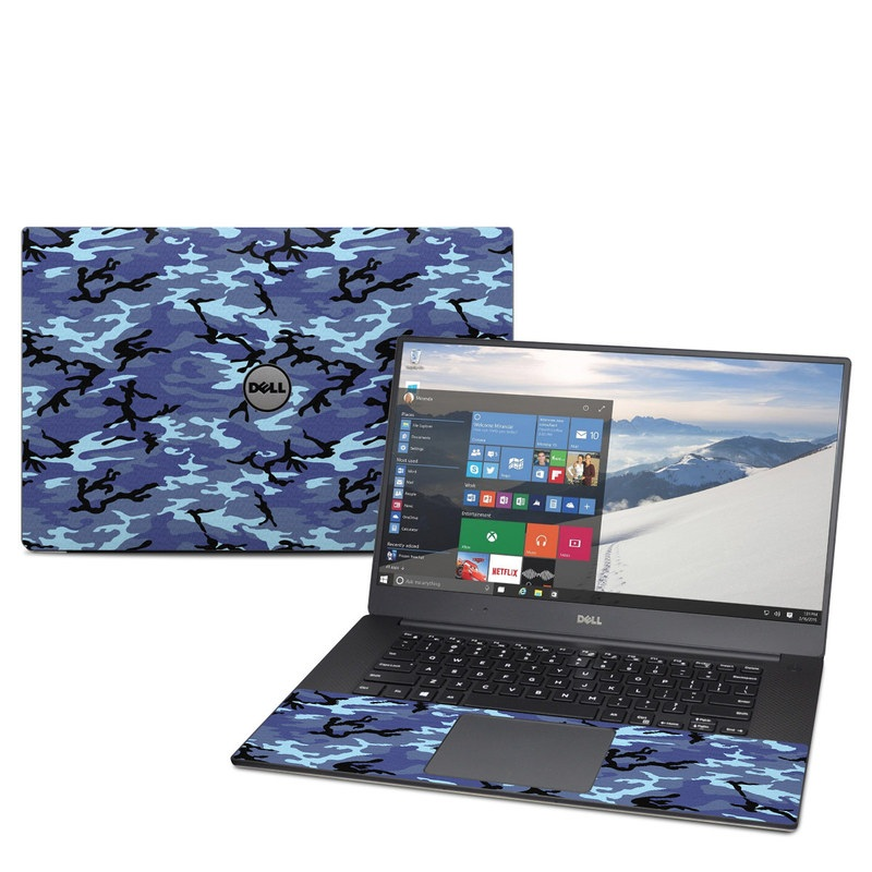 Dell XPS 15 9560 Skin design of Military camouflage, Pattern, Blue, Aqua, Teal, Design, Camouflage, Textile, Uniform with blue, black, gray, purple colors