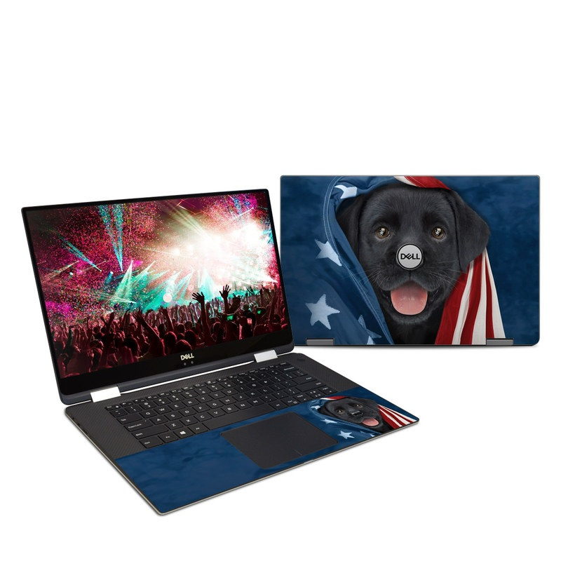 Dell XPS 15 9575 Skin design of Canidae, Dog, Dog breed, Flag, Snout, Carnivore, Sporting Group, Labrador retriever, Flag of the united states, Puppy with black, gray, white, blue, red colors