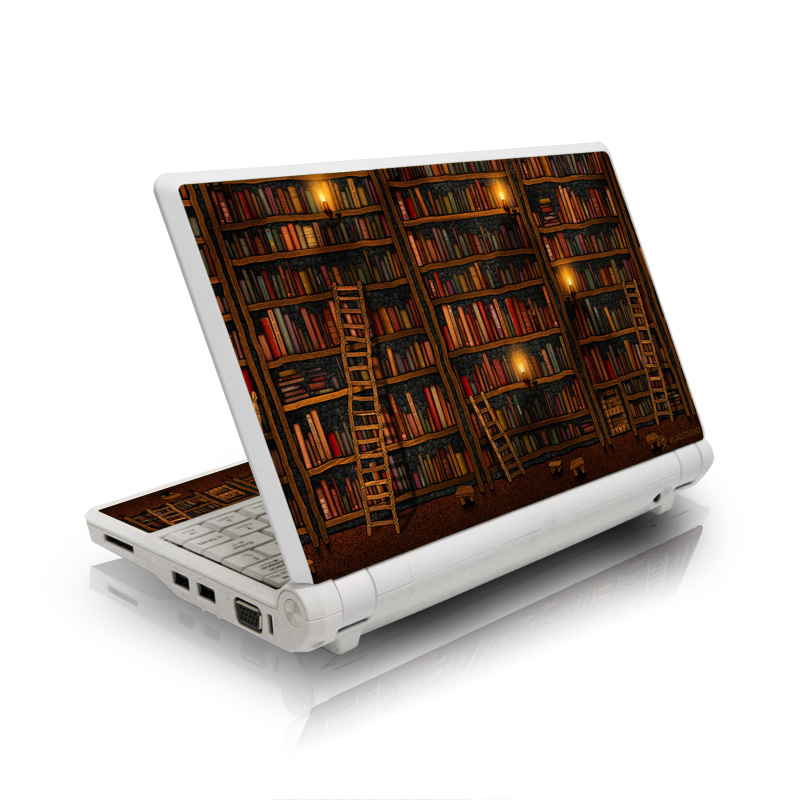 Asus Eee PC Skin design of Shelving, Library, Bookcase, Shelf, Furniture, Book, Building, Publication, Room, Darkness with black, red colors
