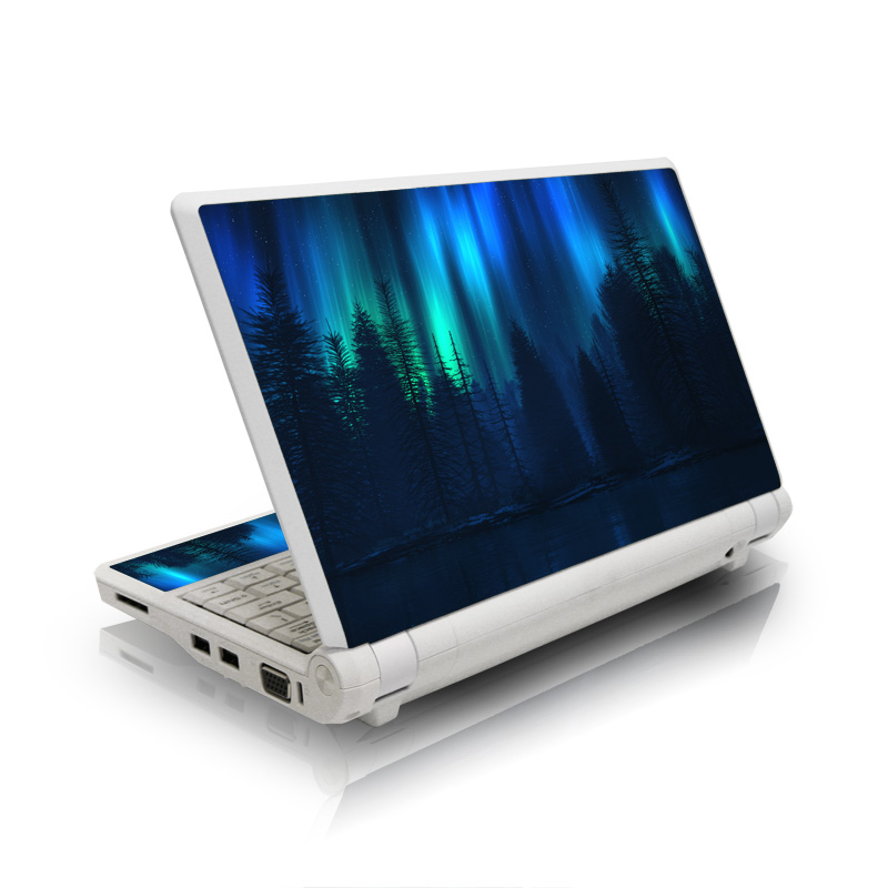 Asus Eee PC Skin design of Blue, Light, Natural environment, Tree, Sky, Forest, Darkness, Aurora, Night, Electric blue with black, blue colors