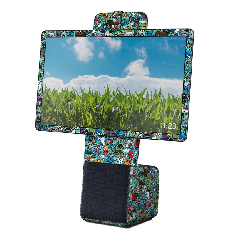 Facebook Portal Plus Skin design of Cartoon, Art, Pattern, Design, Illustration, Visual arts, Doodle, Psychedelic art with black, blue, gray, red, green colors