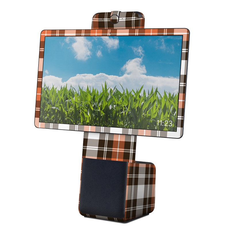 Facebook Portal Plus Skin design of Plaid, Pattern, Tartan, Orange, Brown, Textile, Line, Design, Tints and shades with gray, black, red, white, pink, green colors