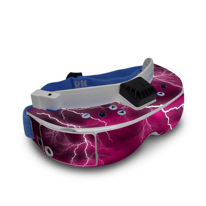 Fat Shark Dominator V3 Skin design of Thunder, Lightning, Thunderstorm, Sky, Nature, Purple, Red, Atmosphere, Violet, Pink with pink, black, white colors