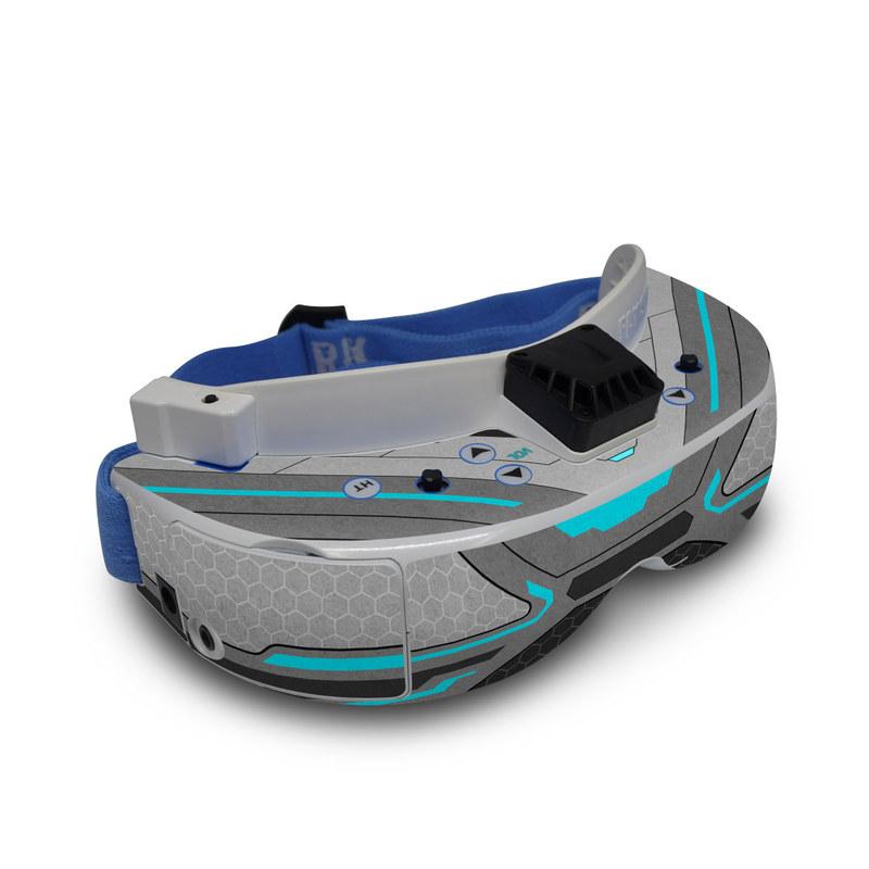 Fat Shark Dominator V3 Skin design of Blue, Turquoise, Pattern, Teal, Symmetry, Design, Line, Automotive design, Font with black, gray, blue colors