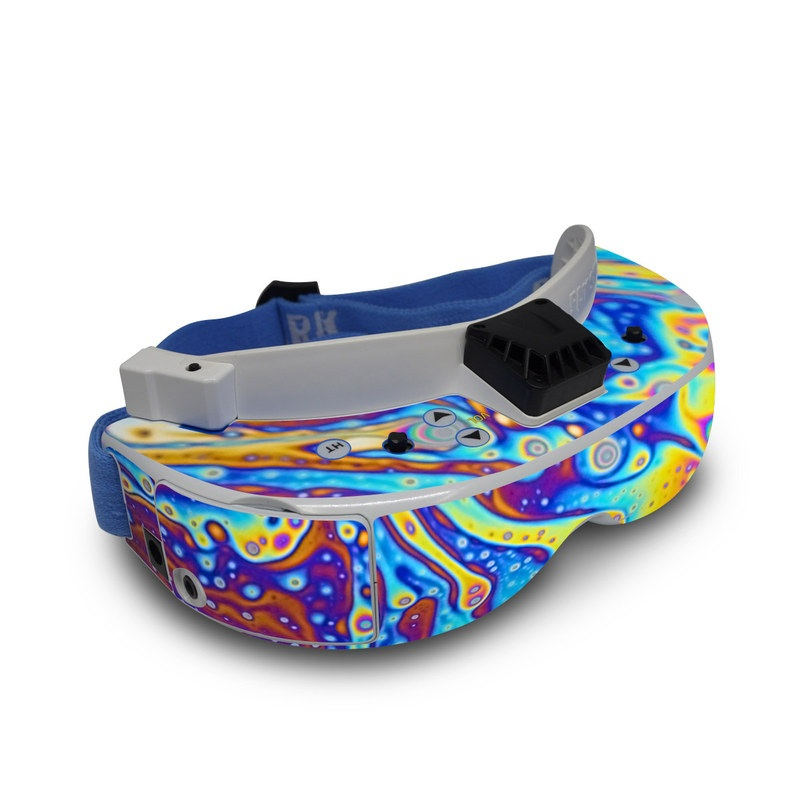 Fat Shark Dominator V3 Skin design of Psychedelic art, Blue, Pattern, Art, Visual arts, Water, Organism, Colorfulness, Design, Textile with gray, blue, orange, purple, green colors