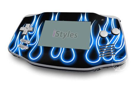 Blue Neon Flames Game Boy Advance Skin