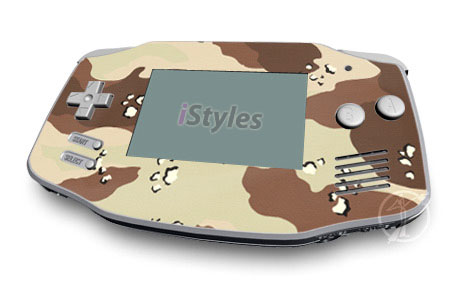 Game Boy Advance Skin design of Military camouflage, Brown, Pattern, Design, Camouflage, Textile, Beige, Illustration, Uniform, Metal with gray, red, black, green colors