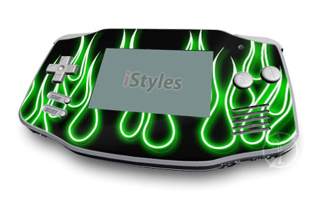 Green Neon Flames Game Boy Advance Skin