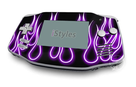 Purple Neon Flames Game Boy Advance Skin
