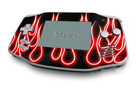 Red Neon Flames Game Boy Advance Skin