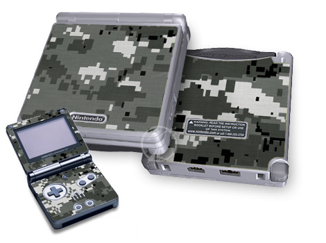 Game Boy Advance SP Skin design of Military camouflage, Pattern, Camouflage, Design, Uniform, Metal, Black-and-white with black, gray colors