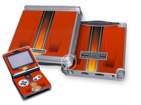 Game Boy Advance SP Skin design of Orange, Red, Line, Material property, Rectangle, Automotive lighting with red, black, orange, gray colors