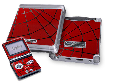 Game Boy Advance SP Skin design of Red, Symmetry, Circle, Pattern, Line with red, black, gray colors
