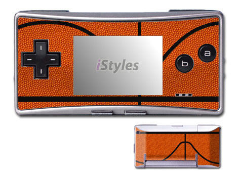 Game Boy Micro Skin design of Orange, Basketball, Line, Pattern, Sport venue, Brown, Yellow, Design, Net, Team sport with orange, black colors