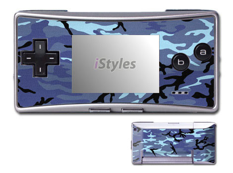 Game Boy Micro Skin design of Military camouflage, Pattern, Blue, Aqua, Teal, Design, Camouflage, Textile, Uniform with blue, black, gray, purple colors