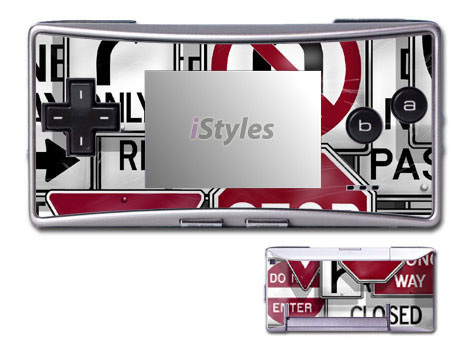 Game Boy Micro Skin design of Font, Text, Sign, Signage, Traffic sign, Logo, Vehicle registration plate, Games, Advertising, Brand with gray, red, black, white colors