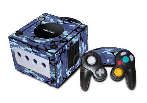 Old GameCube Skin design of Military camouflage, Pattern, Blue, Aqua, Teal, Design, Camouflage, Textile, Uniform with blue, black, gray, purple colors