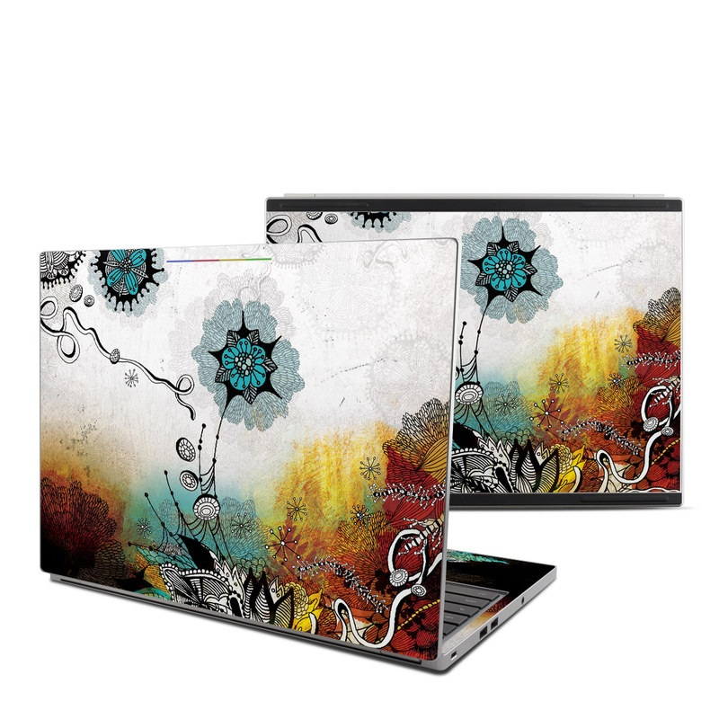 Chromebook Pixel Skin design of Graphic design, Illustration, Art, Design, Visual arts, Floral design, Font, Graphics, Modern art, Painting with black, gray, red, green, blue colors