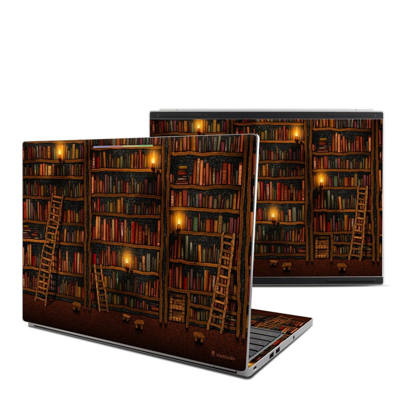 Chromebook Pixel Skin design of Shelving, Library, Bookcase, Shelf, Furniture, Book, Building, Publication, Room, Darkness with black, red colors