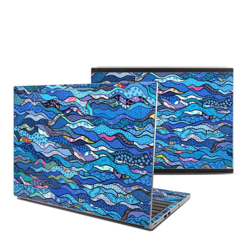 Chromebook Pixel Skin design of Blue, Pattern, Aqua, Water, Line, Design, Textile, Psychedelic art, Electric blue with blue, black, gray, purple colors