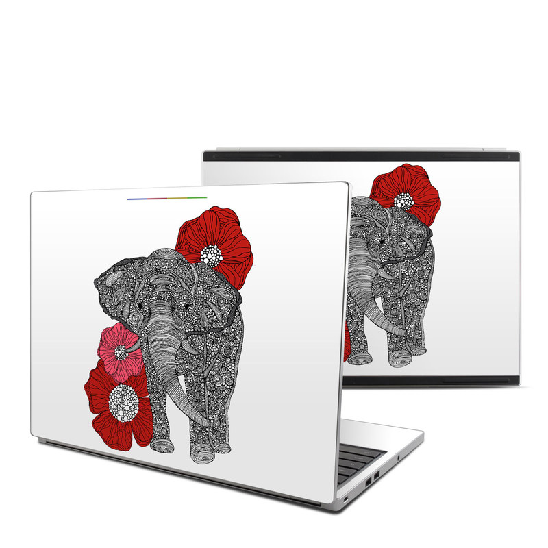 Chromebook Pixel Skin design of Indian elephant, Elephants and Mammoths, African elephant, Line art, Illustration with gray, black, white, red colors