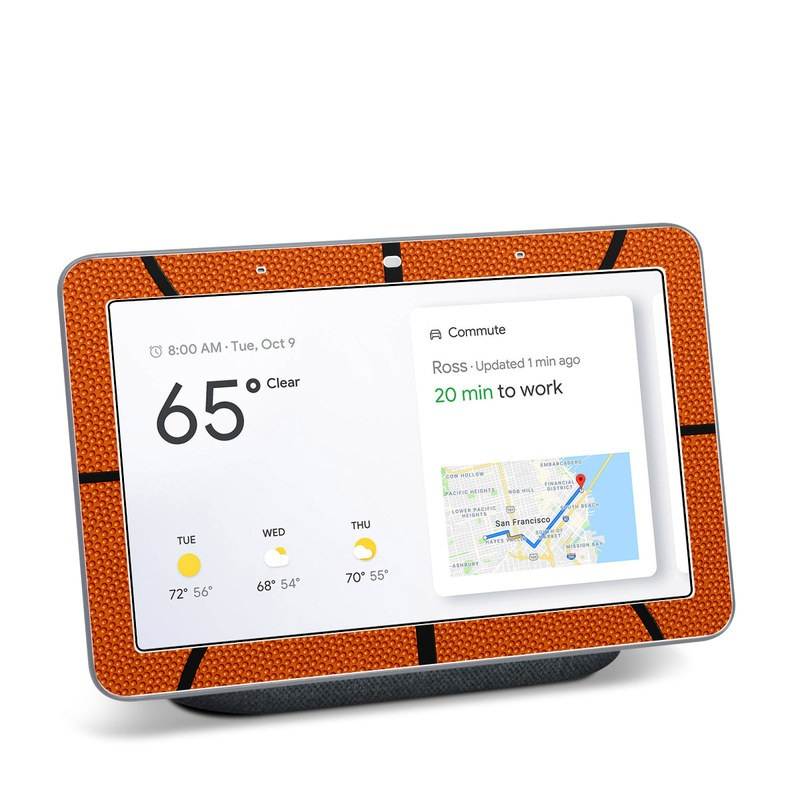 Google Home Hub Skin design of Orange, Basketball, Line, Pattern, Sport venue, Brown, Yellow, Design, Net, Team sport with orange, black colors