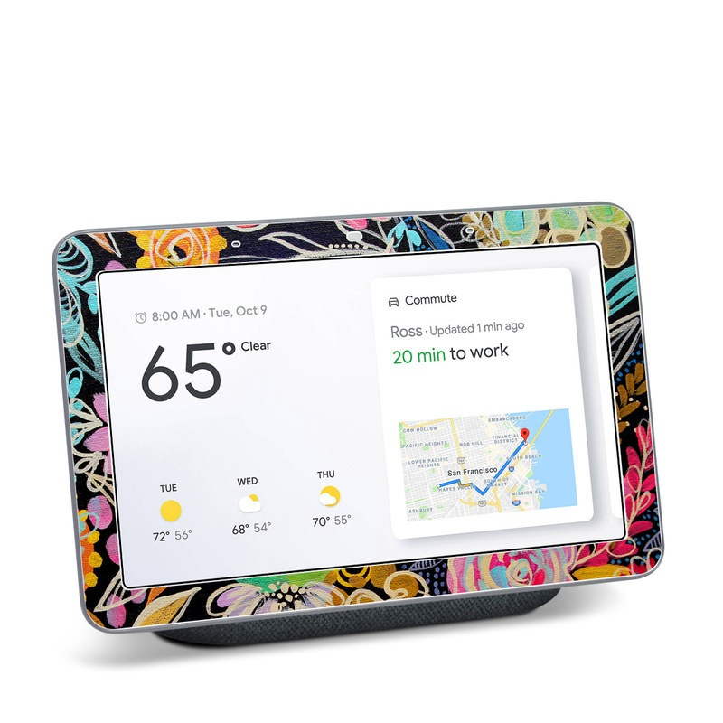 Google Home Hub Skin design of Pattern, Floral design, Design, Textile, Visual arts, Art, Graphic design, Psychedelic art, Plant with black, gray, green, red, blue colors