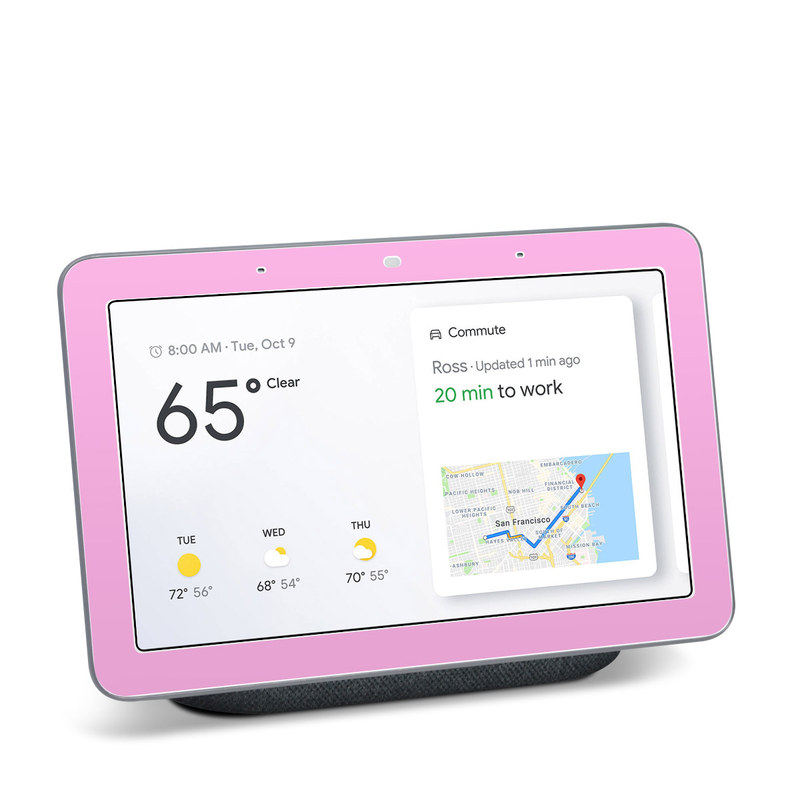 Google Home Hub Skin design of Pink, Violet, Purple, Red, Magenta, Lilac, Sky, Material property, Peach with pink colors