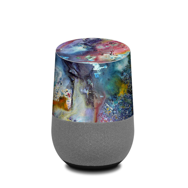 Google Home Skin design of Watercolor paint, Painting, Acrylic paint, Art, Modern art, Paint, Visual arts, Space, Colorfulness, Illustration with gray, black, blue, red, pink colors